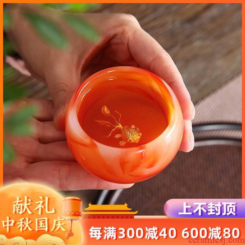 Artisan fairy silver agate jade porcelain cup upset coloured glaze jade cup kung fu tea master cup sample tea cup