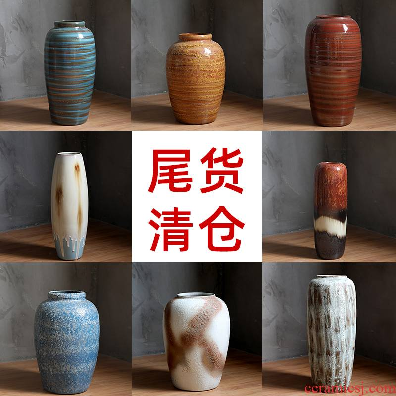 Clearance tail cargo handling of jingdezhen ceramic dry flower water raise floor vase retro flower arrangement sitting room place flowerpot