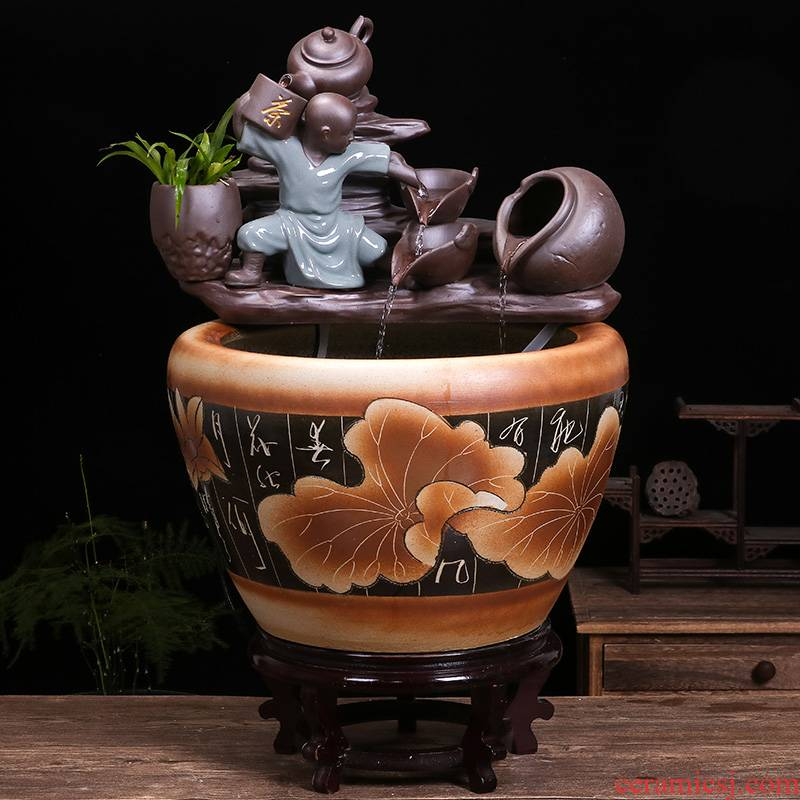 Jingdezhen ceramic goldfish bowl sitting room balcony office water fountain aquarium place feng shui plutus fish bowl