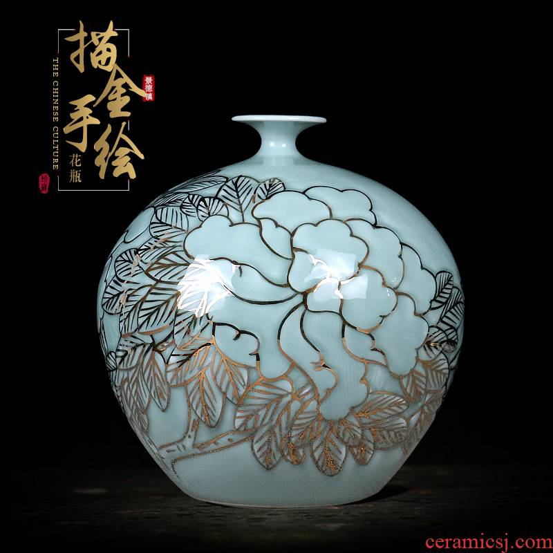 Hand - made paint pomegranate bottles of jingdezhen ceramics vase masters shadow blue glaze new Chinese style sitting room adornment is placed