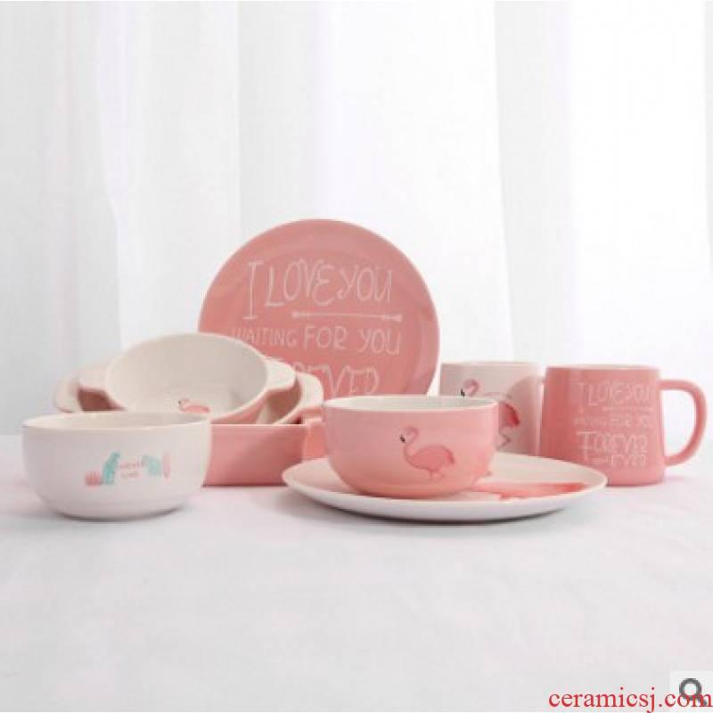 Flamingos creative ceramics tableware suit steak dinner plate plate glass rice bowls ears for FanPan roasted bowl