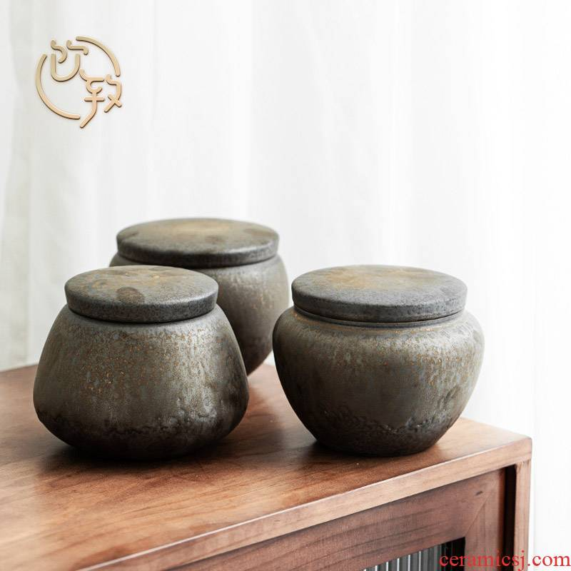 Ultimately responds to the gold large tank storage of jingdezhen ceramic tea POTS manually coarse pottery tea warehouse home tea tea