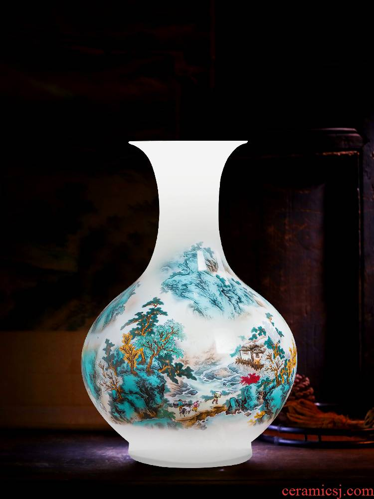 Jingdezhen ceramic hand - made scenery vases, flower arranging thin foetus Chinese rich ancient frame decorative porcelain furnishing articles large living room