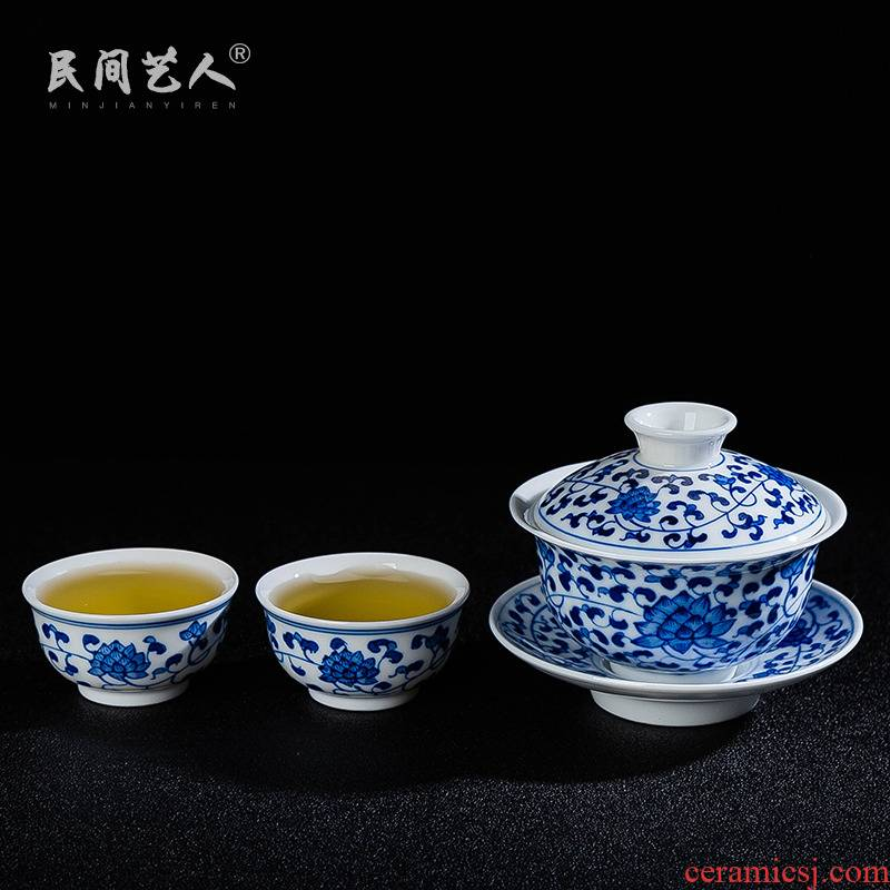 Blue and white home a pot of two cups, two simple tea suit I and contracted small ceramic tea kungfu tea set