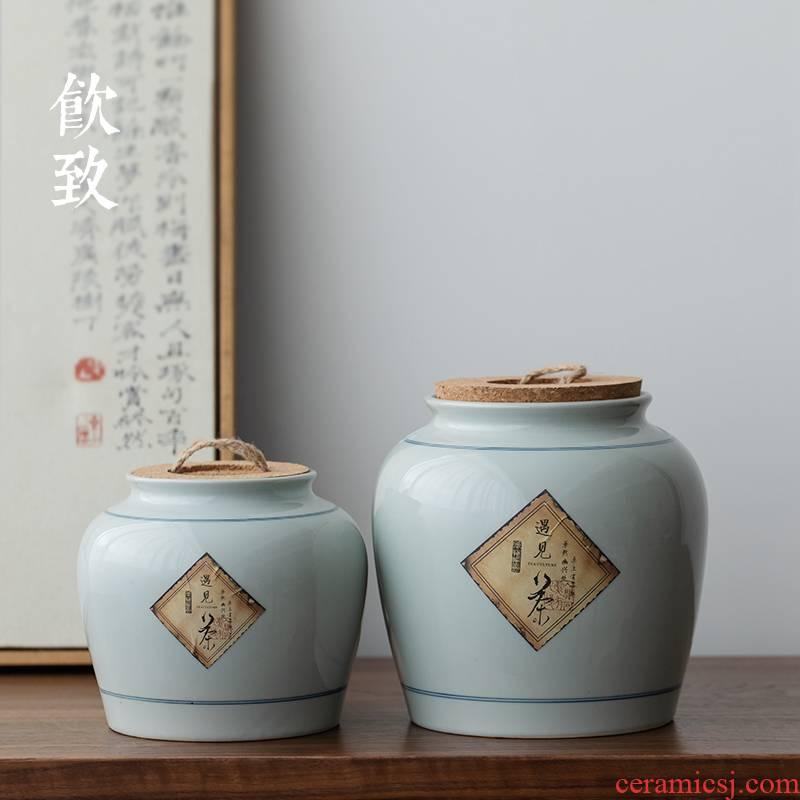 Ultimately responds to restore ancient ways caddy fixings moisture storage of jingdezhen ceramic creative household big save tea storage tanks seal POTS