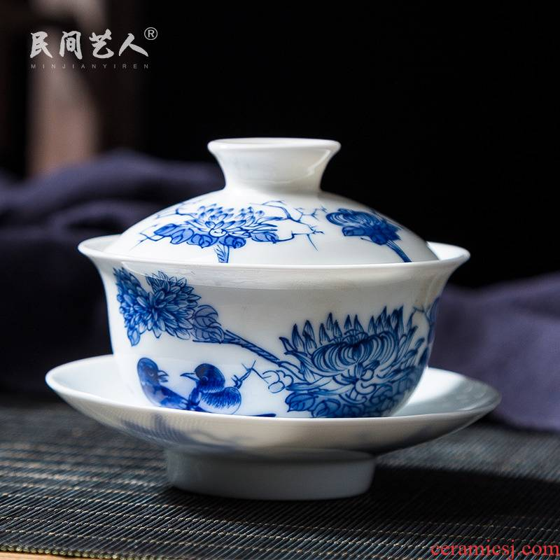 Jingdezhen hand - made ceramic tureen live three finger bowl to bowl of blue and white porcelain cup bowl tray