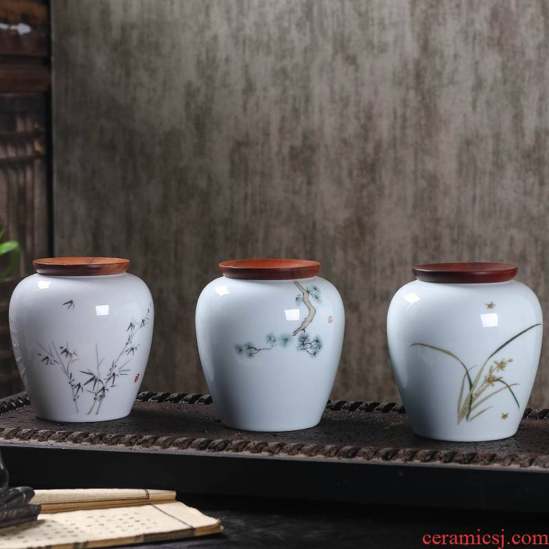 Jingdezhen ceramic tea pot small half jins to seal moisture with cover pu - erh tea POTS home store POTS