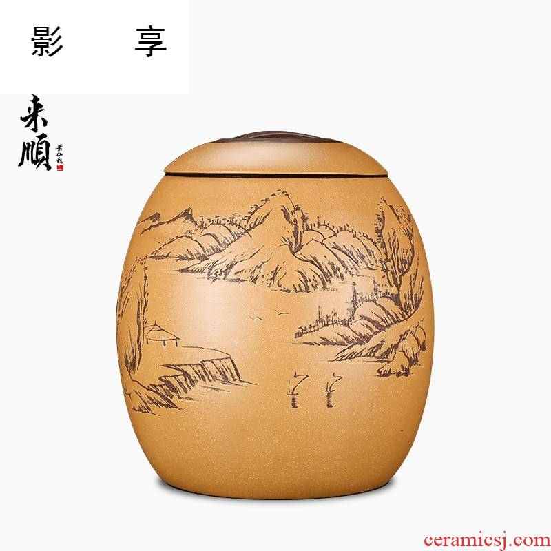 Shadow at yixing purple sand tea pot large - sized purple pu 'er tea pot seal storage tank tea urn tea ZL