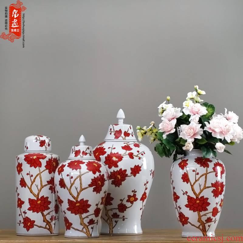 Jingdezhen ceramic vases, creative home sitting room vase light key-2 luxury furnishing articles decorative flower red maple leaf vase