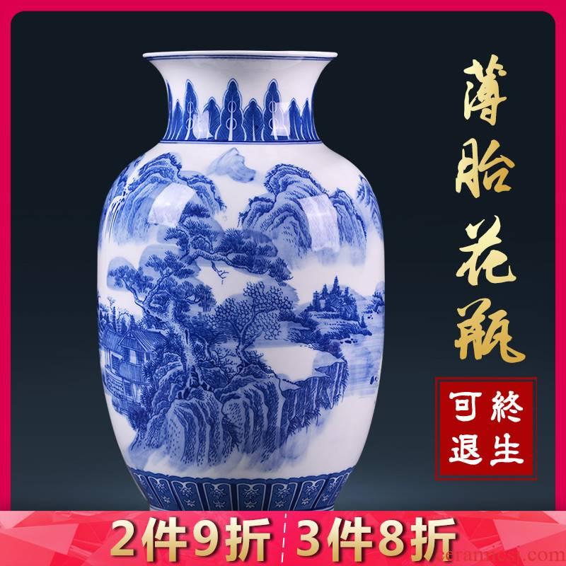 Blue and white porcelain of jingdezhen ceramics vase landscape eggshell porcelain Chinese style household adornment flower arranging furnishing articles in the living room