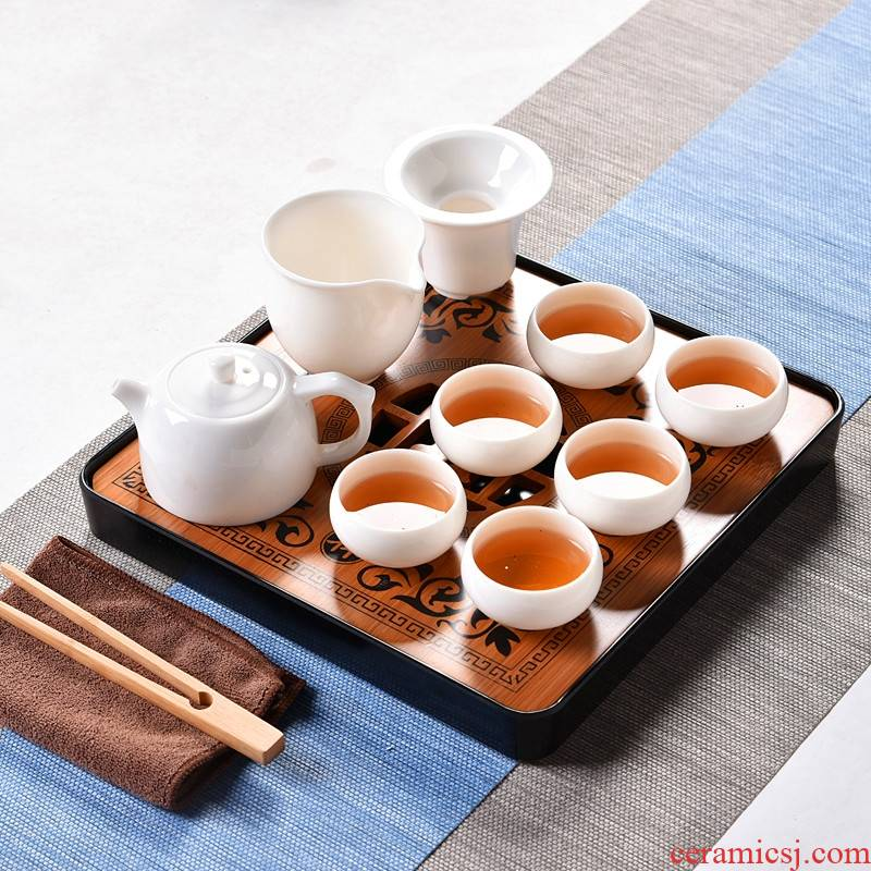 Qiao mu dehua white porcelain kung fu tea set tea home office contracted teapot teacup tureen tray