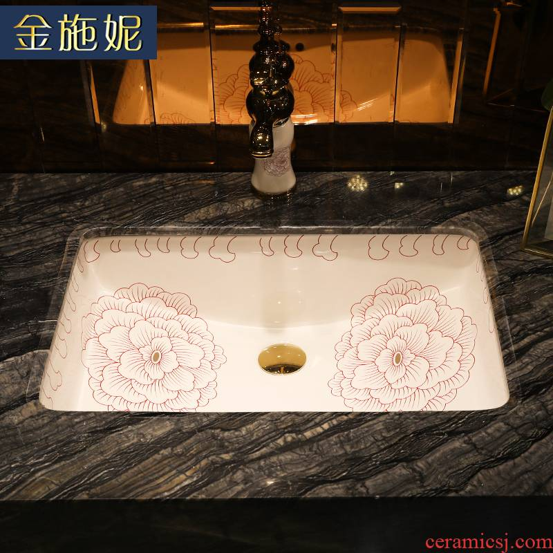 Flowers red line ceramic undercounter basin square embedded household balcony ceramic bathroom wash basin
