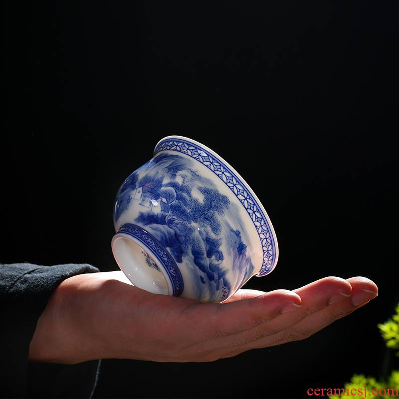 . Poly real one thousand fire scene jingdezhen blue and white porcelain ceramic cup single hand - made manual landscape to use large kung fu