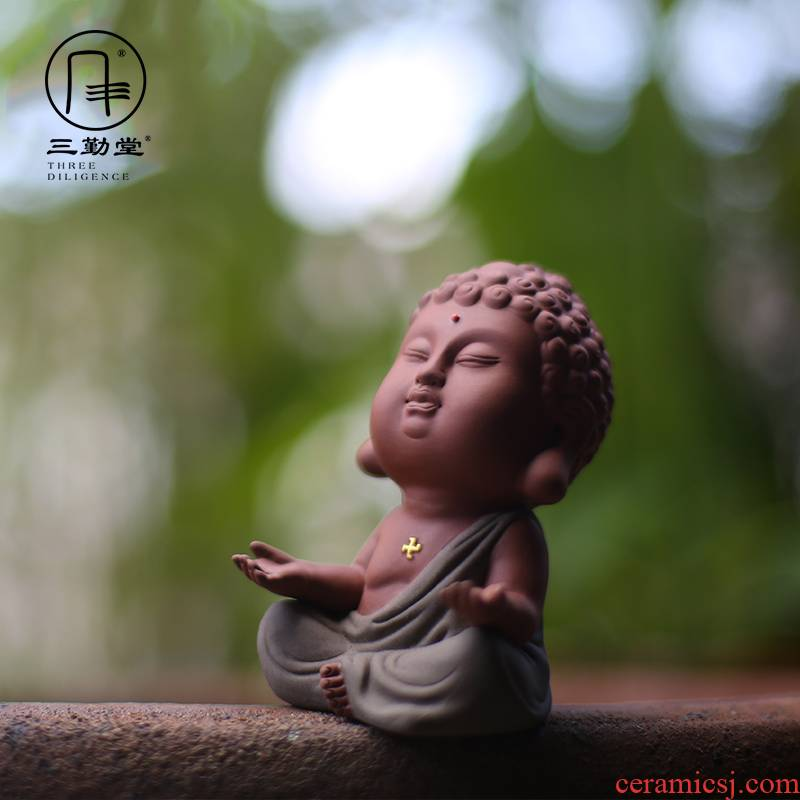 The three regular purple sand tea pet can keep purple sand tea tea art furnishing articles, o tang small Buddha Buddha bodhisattva S06008