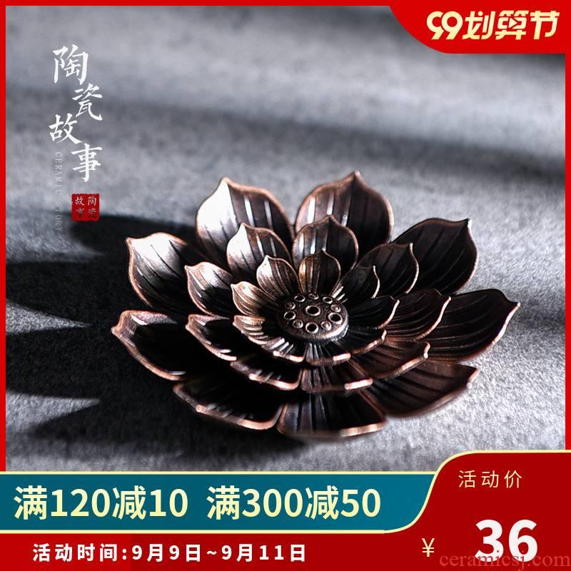 Porous ceramic story incense inserted a creative lotus archaize furnishing articles pet kung fu tea tea accessories zen censer