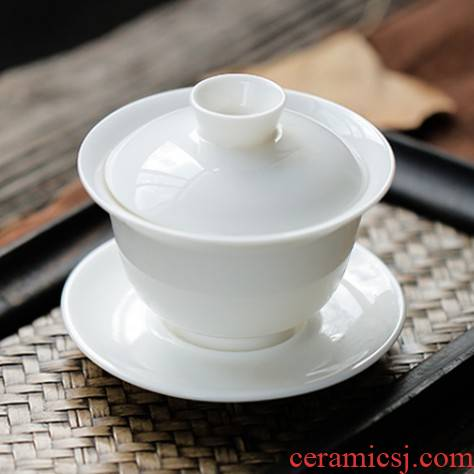 Ya xin sweet white porcelain three tureen suit thin foetus jingdezhen ceramic cups only a single large kung fu tea bowl