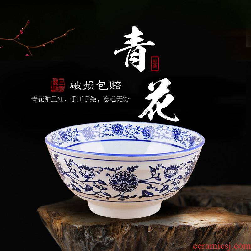 Ltd. large adult bowl of soup bowl of creative ceramic household surface shaanxi blue edge of the old bowl meal powder always move