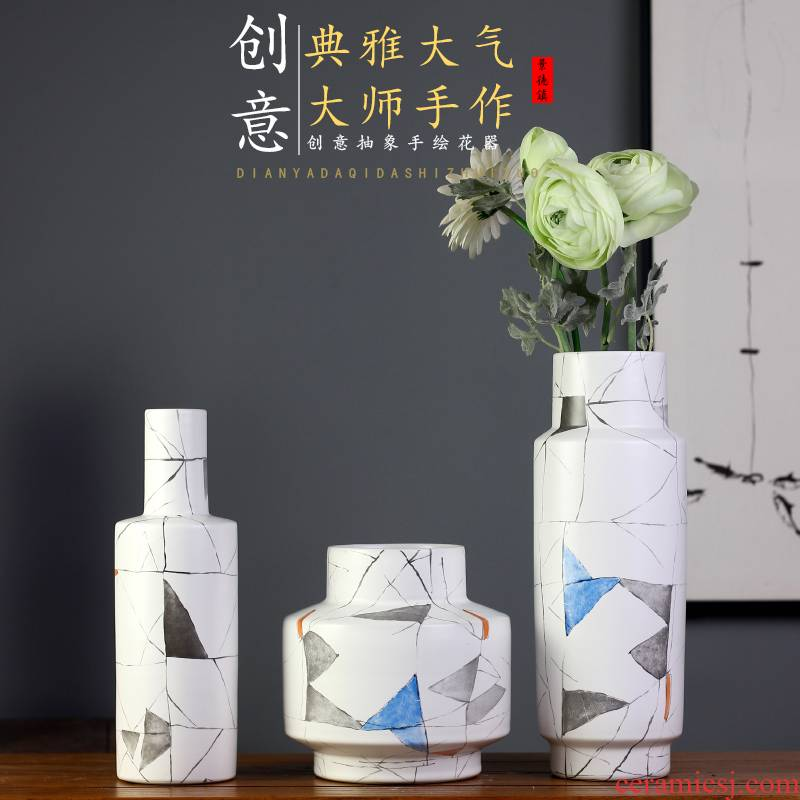 Jingdezhen ceramics, vases, flower arranging flower implement new creative abstract decorative home furnishing articles I and contracted jewelry