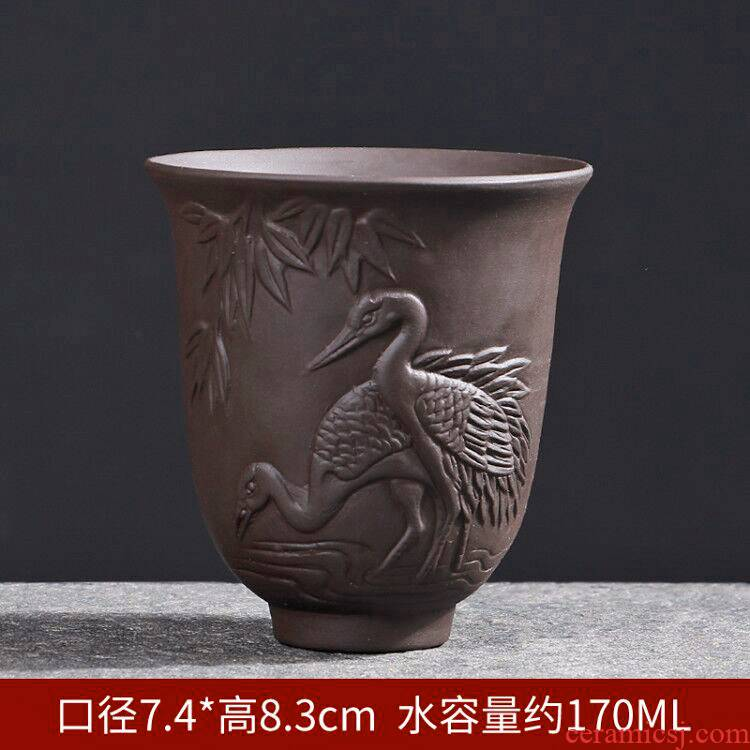 Suet jade white porcelain ceramic tea cups master cup of heart sutra single CPU graven images kung fu tea tea bowl is large