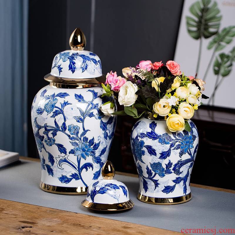 Jingdezhen chinaware paint hand - made Chinese blue and white porcelain vase general office tank furnishing articles large living room