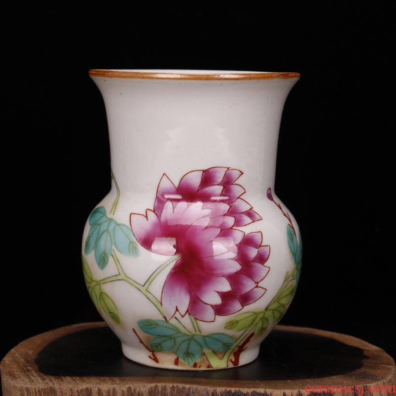 Jingdezhen imitation stagnation and pure checking antique antique hand - made pastel flowers, fine antique furnishing articles