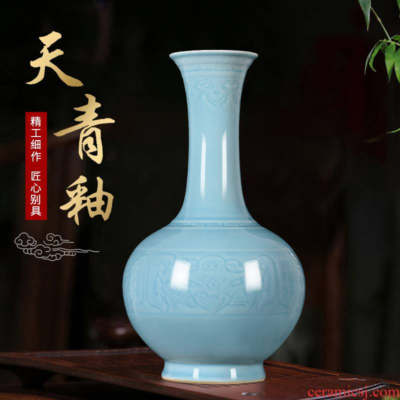 Jingdezhen ceramics vase archaize shadow blue glaze new Chinese style flower arrangement sitting room TV ark, furnishing articles home decoration