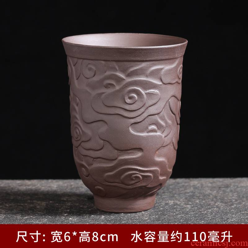 Purple sand cup ceramic masters cup single CPU heart sutra kung fu tea cups violet arenaceous suet jade white porcelain cup sample tea cup individuals
