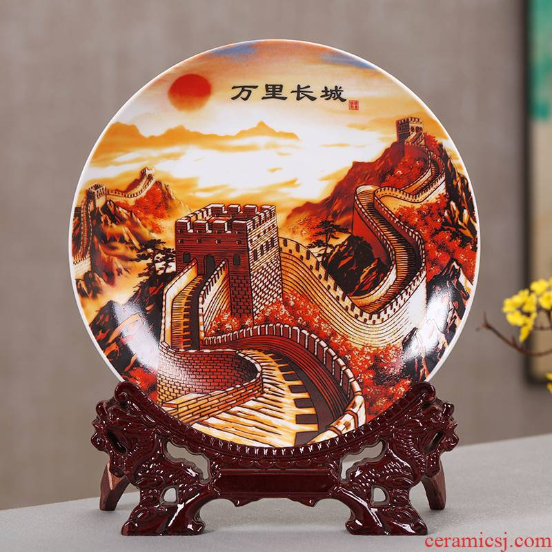 Hang dish of jingdezhen ceramics decoration plate Chinese wine rich ancient frame home decoration handicraft furnishing articles sitting room