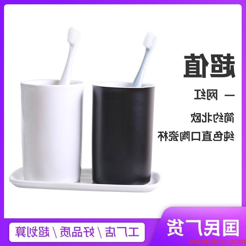 Brush your teeth in the kitchen ceramic cup for wash gargle cup gargle suit household glass office glass can be customized advertising l ogo