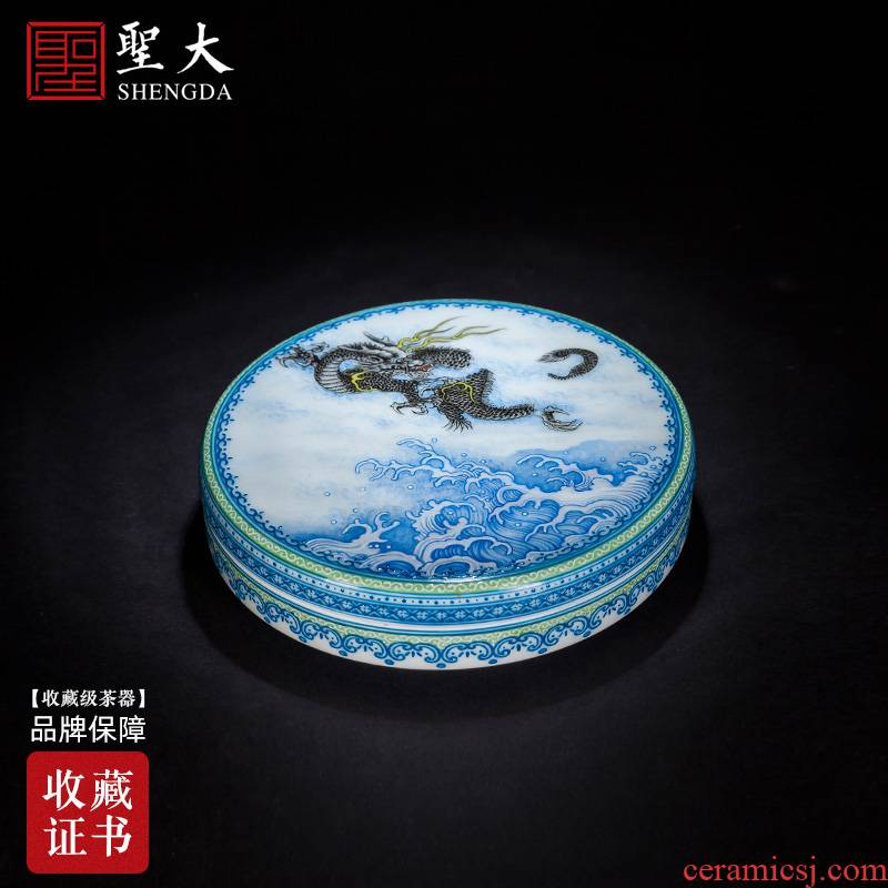 The big four inkpad box of jingdezhen ceramic hand - made heavy new dragon creeping clouds, inkpad cylinder four treasures of The study