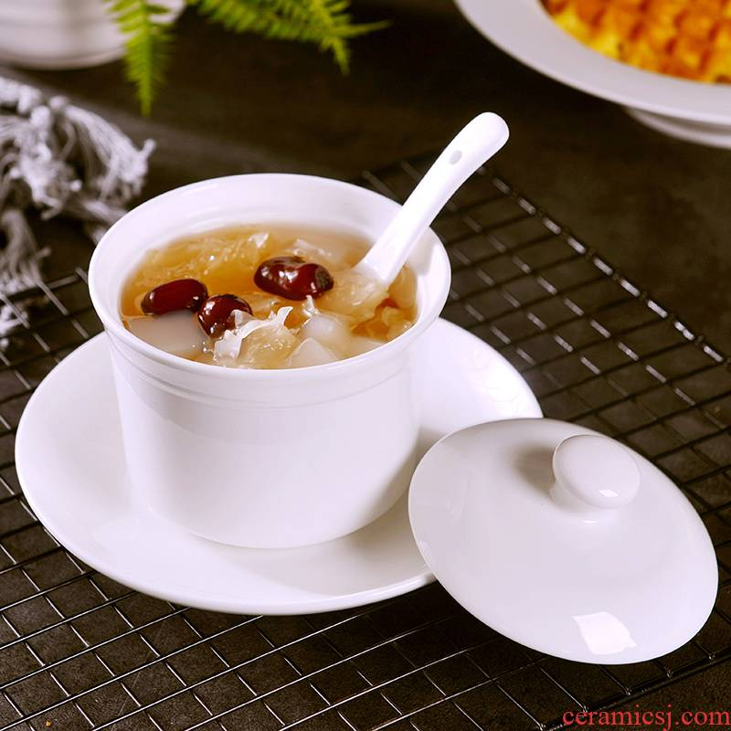 Stew ceramic ipads China bird 's nest soup bowl water cup bowl household with cover plate spoon Stew Stew pot steamed egg cup 1 to 2