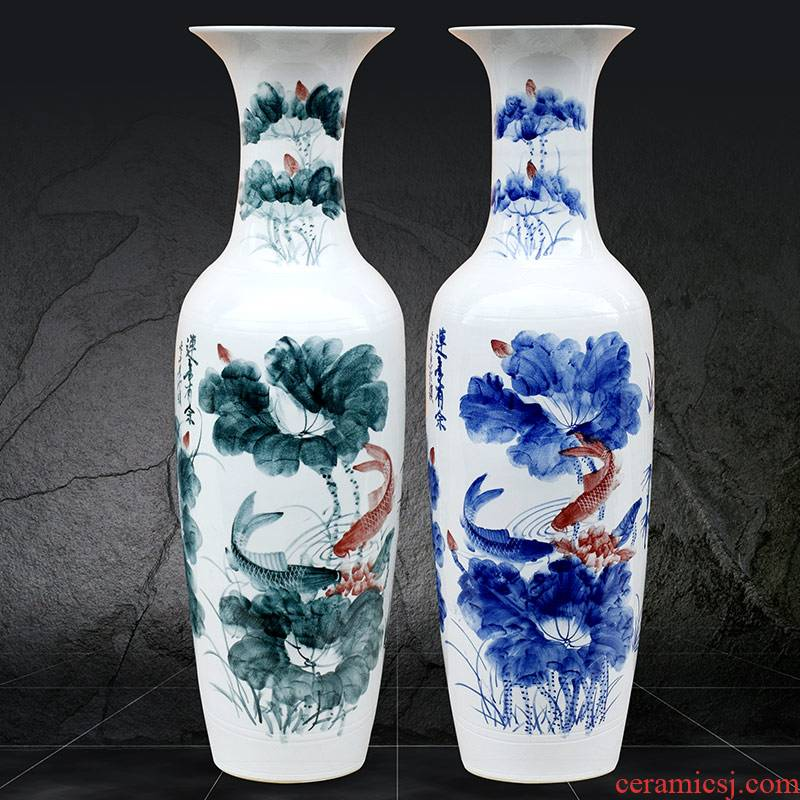 Jingdezhen ceramics of large vases, hand - made successive traditional new Chinese sitting room adornment is placed more fish