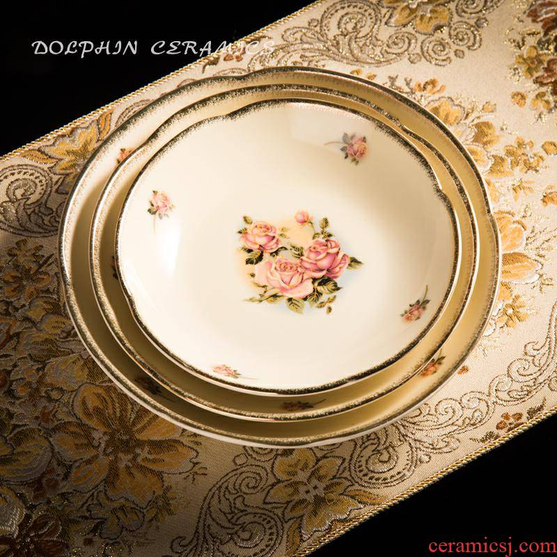 The queen of Korean golden rose ceramic plate household food dish classical high - grade flat disc deep soup dish of trumpets
