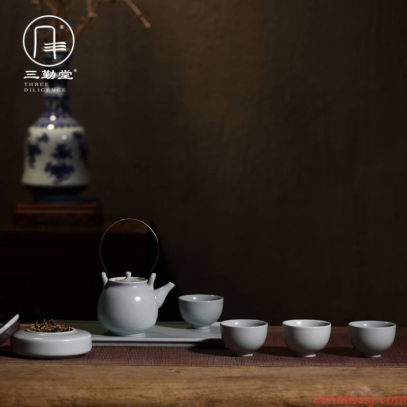 Kung fu tea set three frequently hall jingdezhen teapot teacup small tea table of a complete set of household ST1026 your up with ceramics