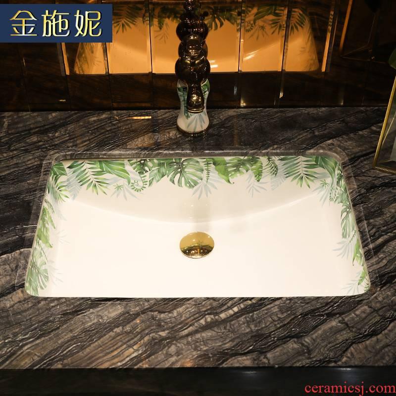 Gold cellnique undercounter basin square sink embedded household balcony ceramic bathroom wash basin