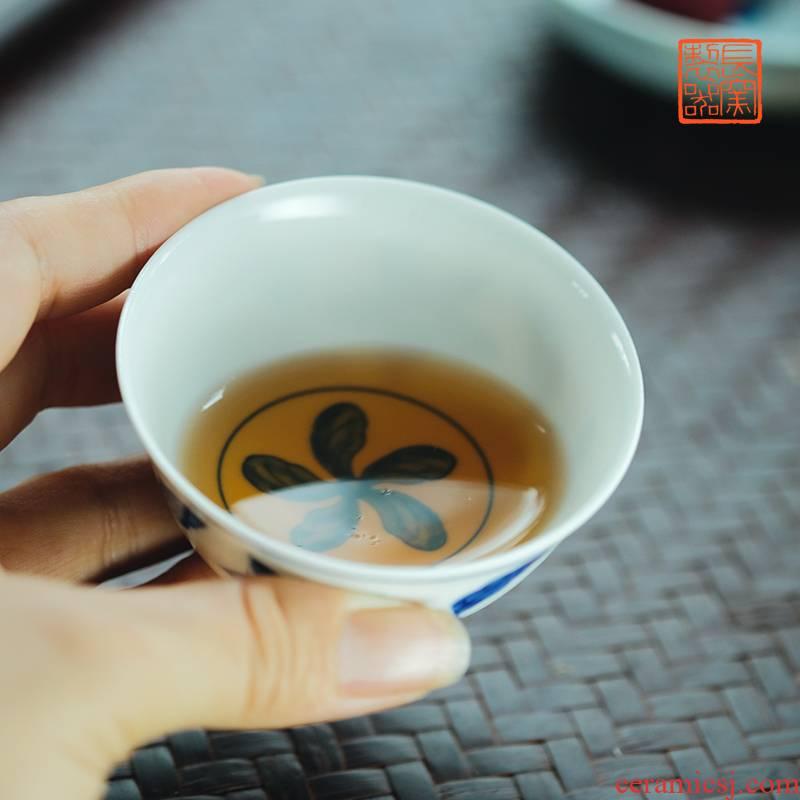 Long up controller hand - made porcelain Zhi, ZiWen 70 ml capacity kung fu tea sample tea cup of jingdezhen ceramics by hand
