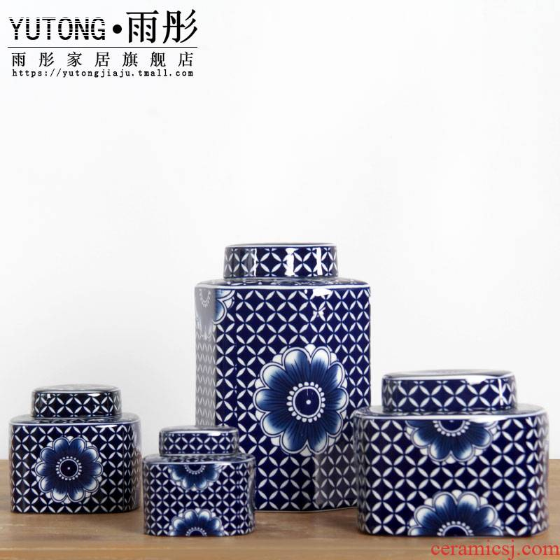 Jingdezhen ceramic storage tank sifang canister to candy jar home decoration vase sitting room place between example