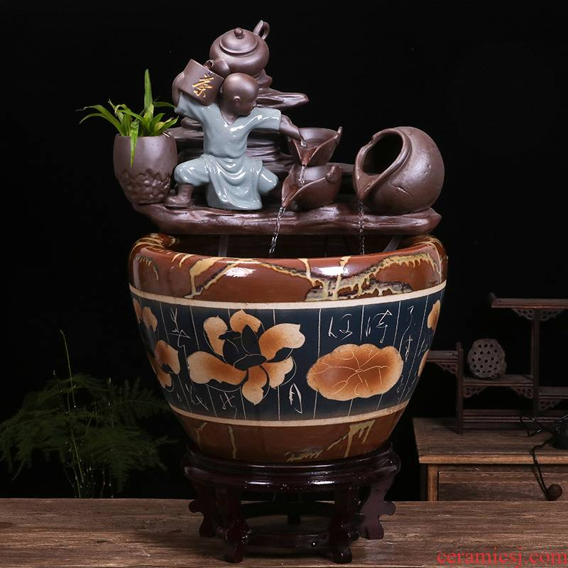 Jingdezhen ceramic tank sitting room circulating water tank feng shui plutus furnishing articles balcony lotus fish bowl