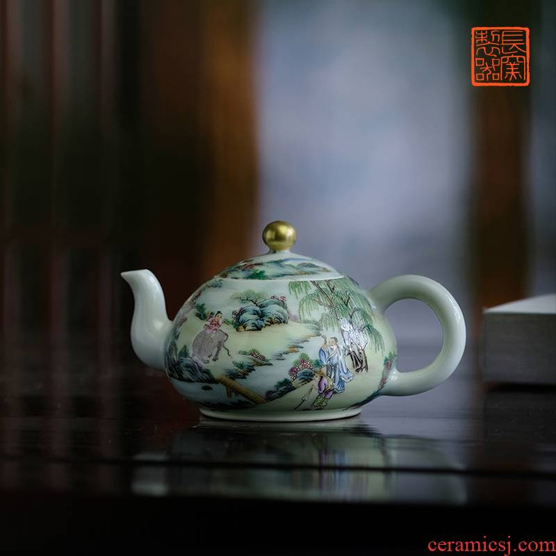 Long up controller offered home - cooked pastel qingming outing in poetic figure teapot jingdezhen pure manual imitation of tea set