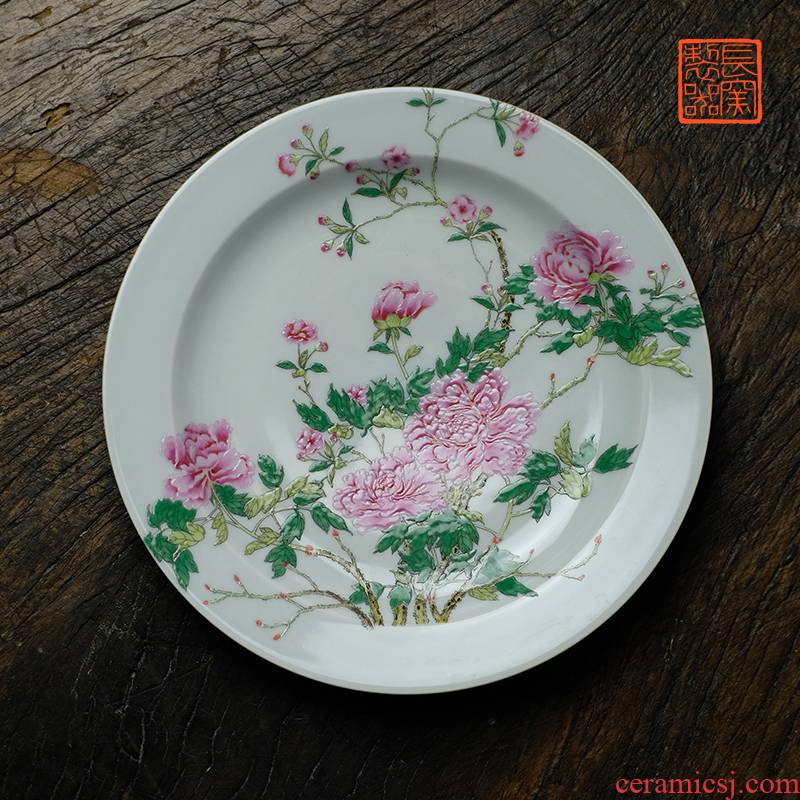 Long up controller hand - made peony dish to admire the dish compote ground decoration plate of jingdezhen ceramics by hand