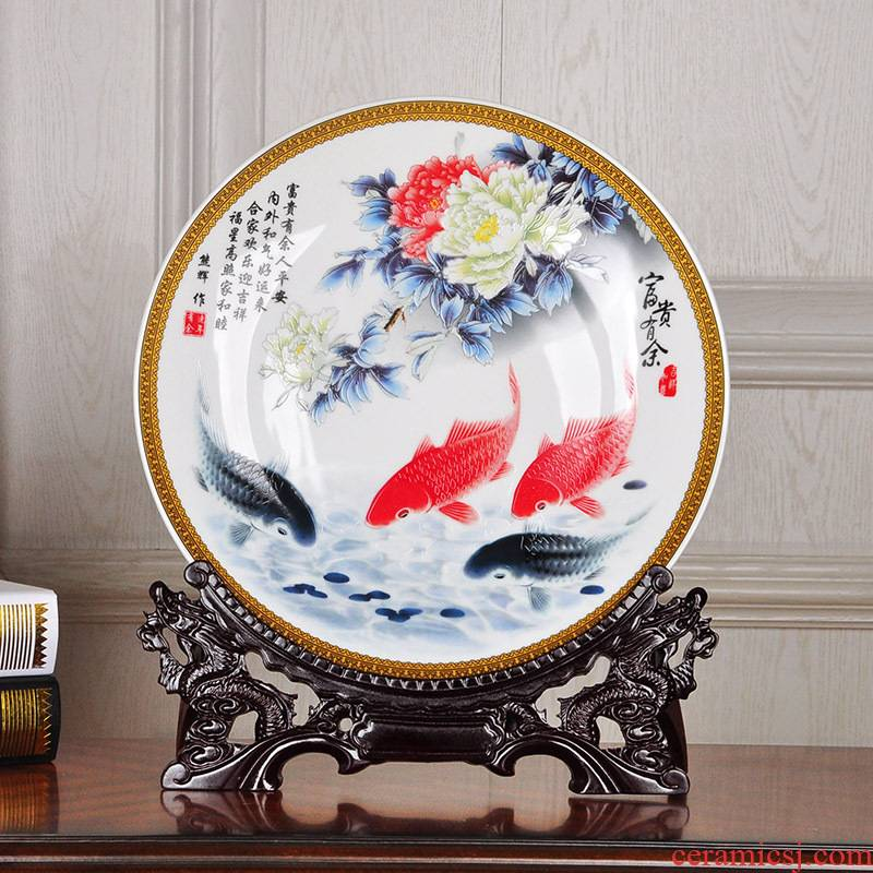 Jingdezhen ceramic painting large disk sat dish furnishing articles TV setting wall decoration hanging dish hotel decoration