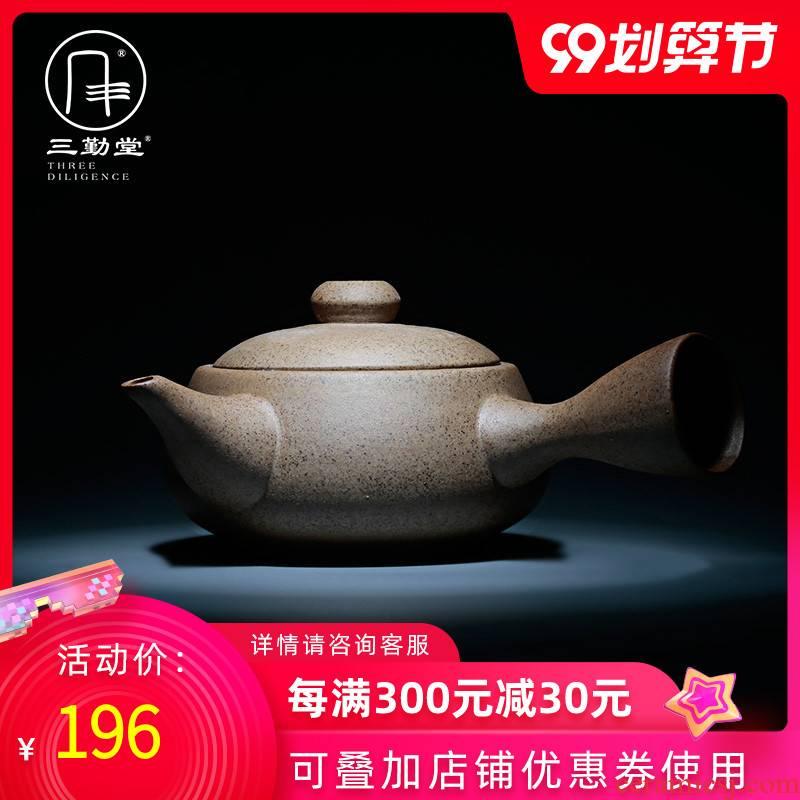 Three frequently hall kung fu tea kettle coarse pottery teapot jingdezhen ceramic tea set, the Japanese side pot lasts a tea