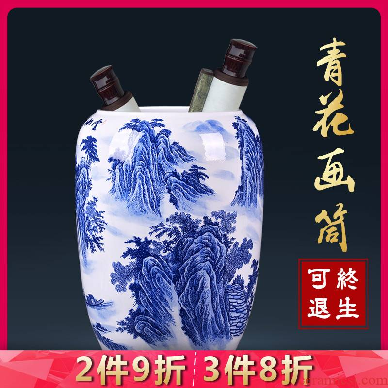 Jingdezhen ceramic blue and white landscape painting and calligraphy cylinder scroll quiver vase landed ornaments sitting room place the study
