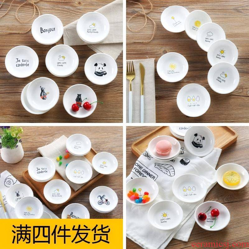 Contracted with small small plate ceramic disc flavour dish meal white household cartoon melon pickled food dish meal in the kitchen