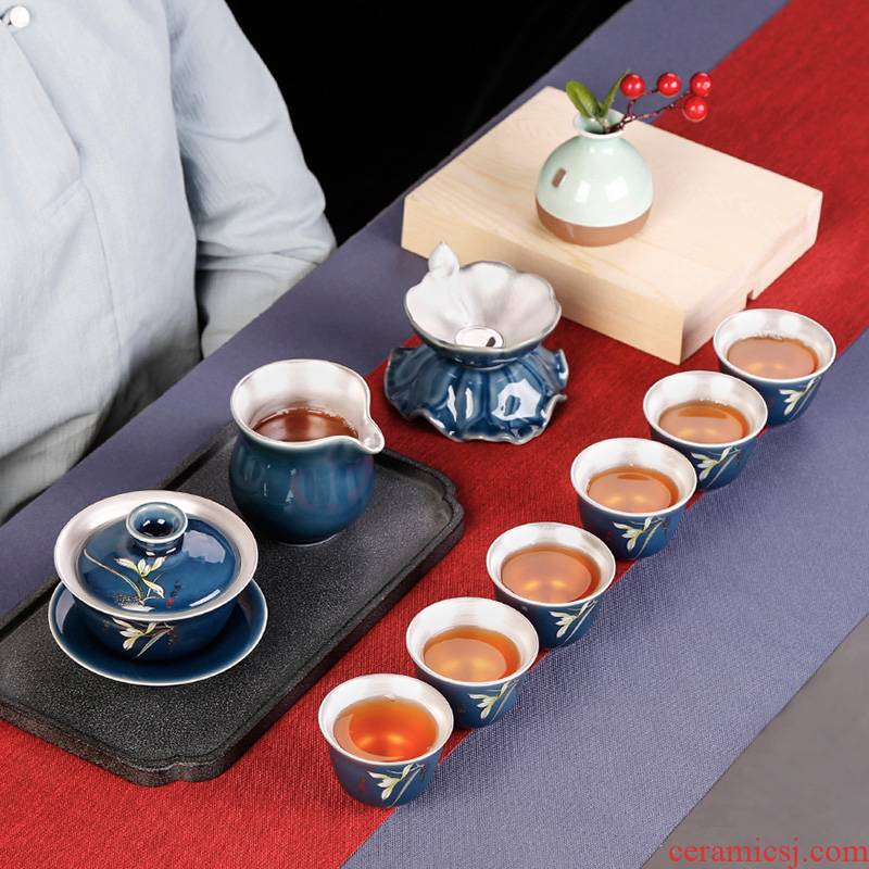 Jingdezhen silver kung fu tea set ceramic tureen tea cup six people tasted silver gilding office contracted and I