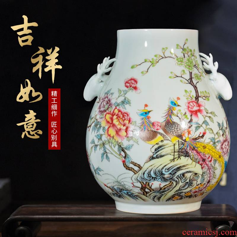Jingdezhen ceramics powder enamel vase flower arranging furnishing articles of Chinese style household TV ark, porch decoration sitting room