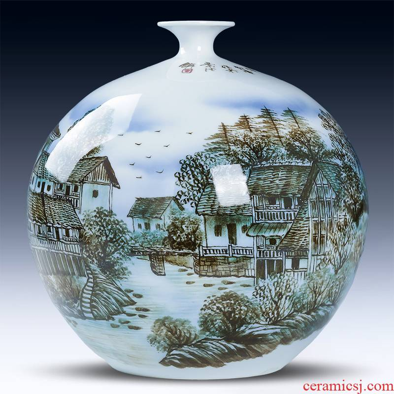 Jingdezhen ceramics hand - made mountain dawn rhyme pomegranate bottle vase porch decoration of Chinese style household furnishing articles