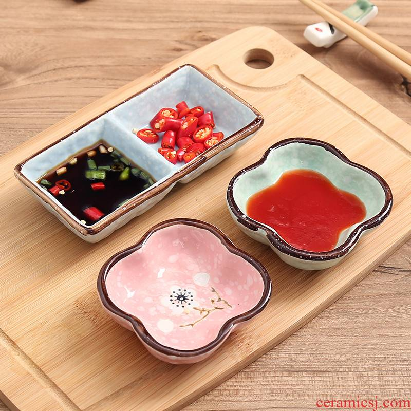Dab of home dishes snacks Japanese glazed ceramic plates and dipping sauce snowflakes dish dish flavor dish seasoning sauce vinegar