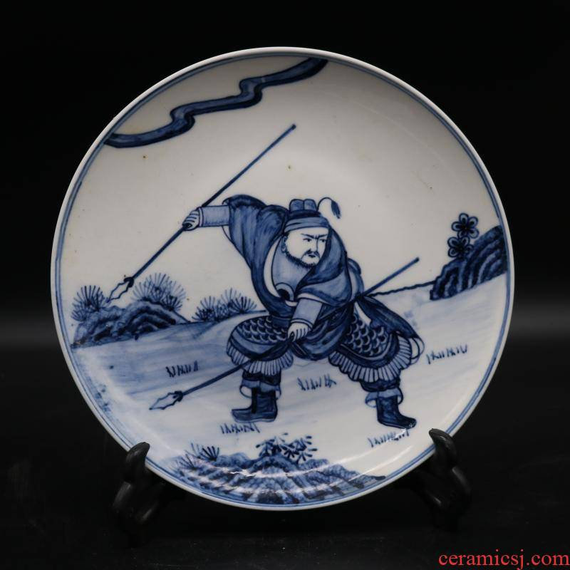 Archaize jingdezhen blue and white war characters of the reign of emperor kangxi dish hand - made porcelain household of Chinese style furnishing articles antique collection