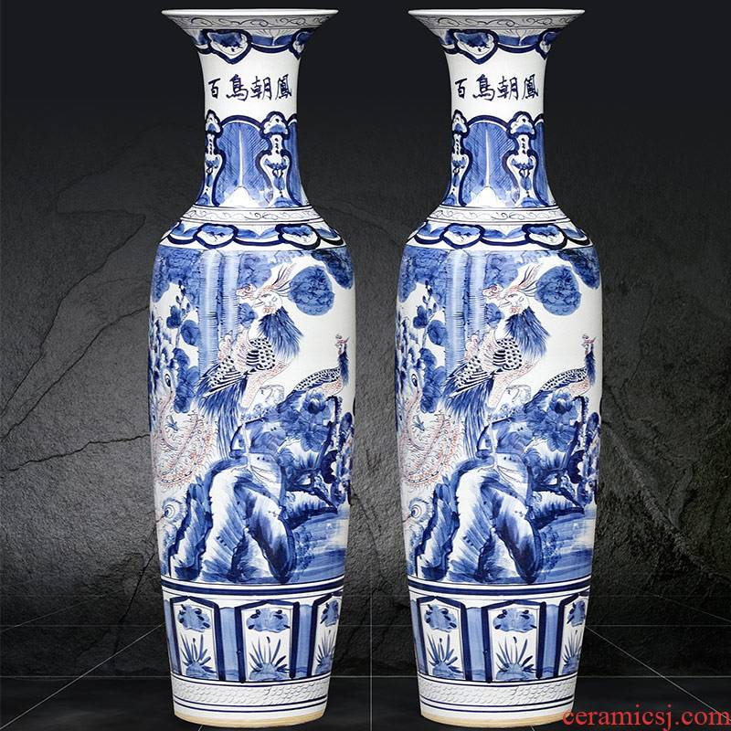 Jingdezhen blue and white youligong hand - made ceramics landing big vase birds pay homage to the king of Chinese style sitting room adornment is placed